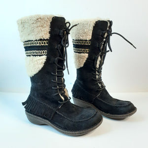 {Ugg} Black Leather Lace Up Fringe Tall Boots 6
